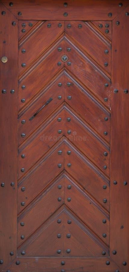 Rocznika brązu drewniany dzwi wejściowy stary dom zdjęcie royalty free