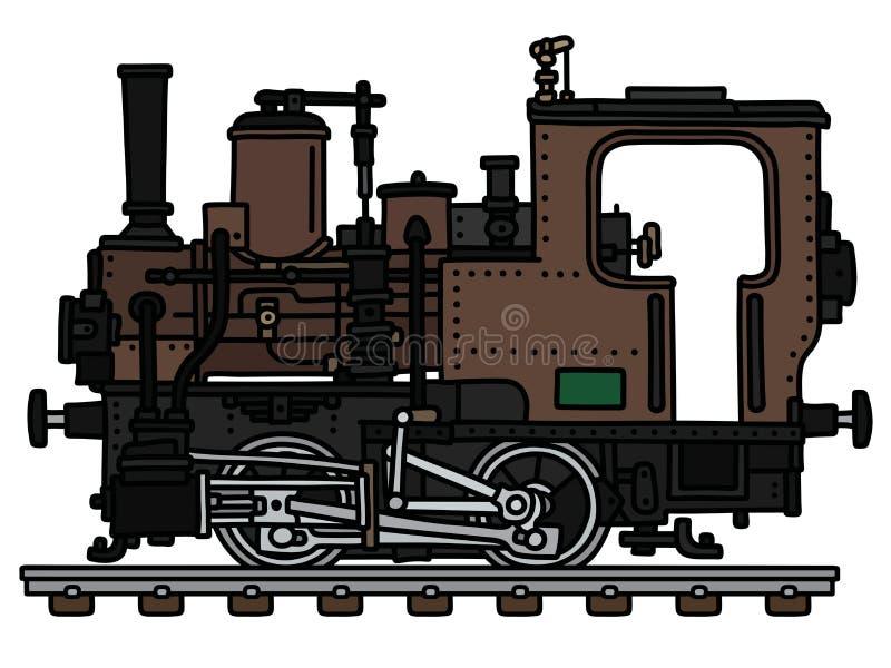 Rocznika brązu mała parowa lokomotywa royalty ilustracja