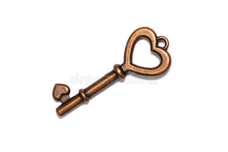 Rocznika brązu serce Kształtujący klucz obrazy royalty free
