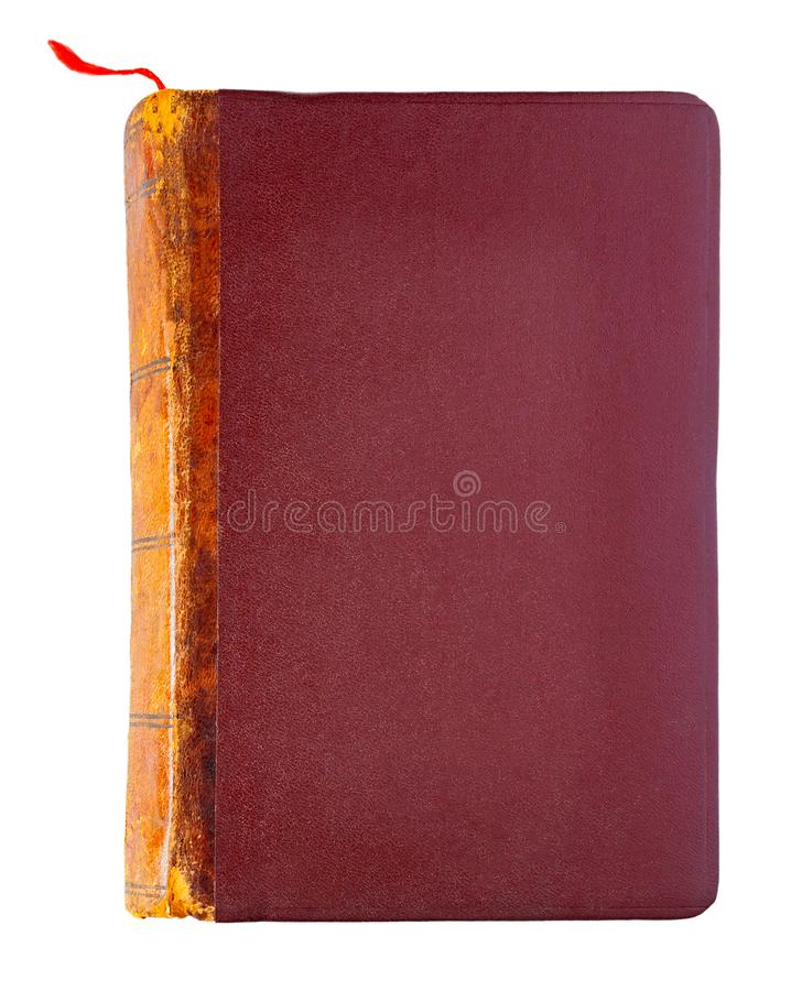 Rocznika brązu zamknięta książka z czerwonym bookmark fotografia royalty free