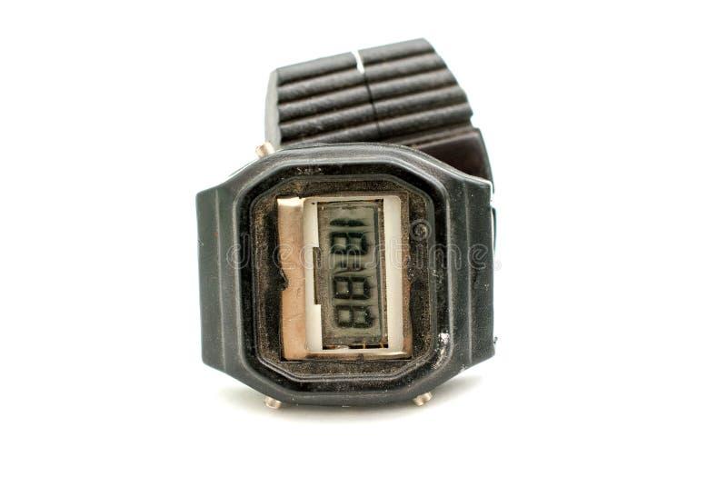 Rocznika brudny i zakurzony cyfrowy zegar zdjęcie stock