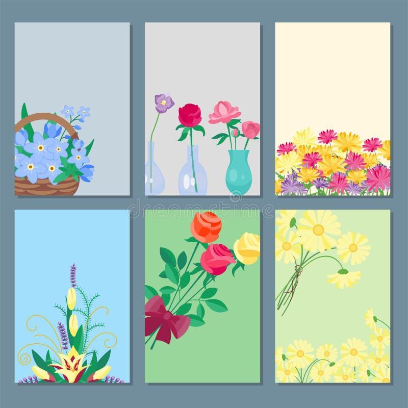 Rocznika bukieta kart ogródu kwiatu kwiecistego wektorowego botanicznego naturalnego ilustracyjnego lata kartka z pozdrowieniami  royalty ilustracja