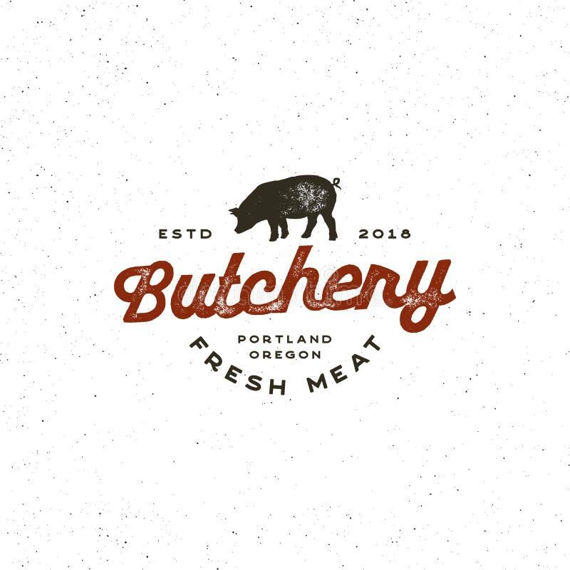 Rocznika butchery logo retro projektujący mięsnego sklepu emblemat również zwrócić corel ilustracji wektora ilustracja wektor