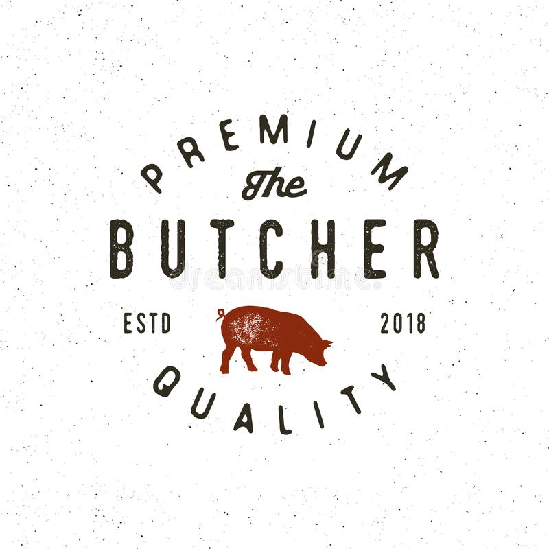 Rocznika butchery logo retro projektujący mięsnego sklepu emblemat również zwrócić corel ilustracji wektora royalty ilustracja