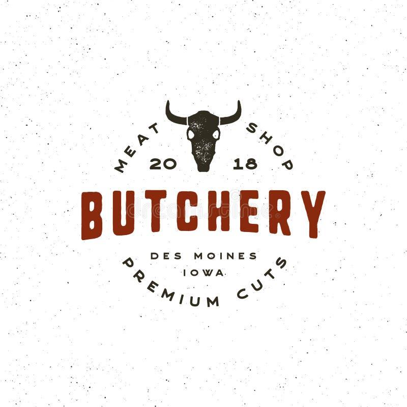Rocznika butchery logo retro projektujący mięsnego sklepu emblemat również zwrócić corel ilustracji wektora ilustracji