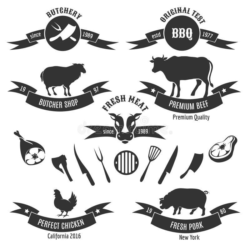 Rocznika butchery sklepu etykietki ilustracja wektor