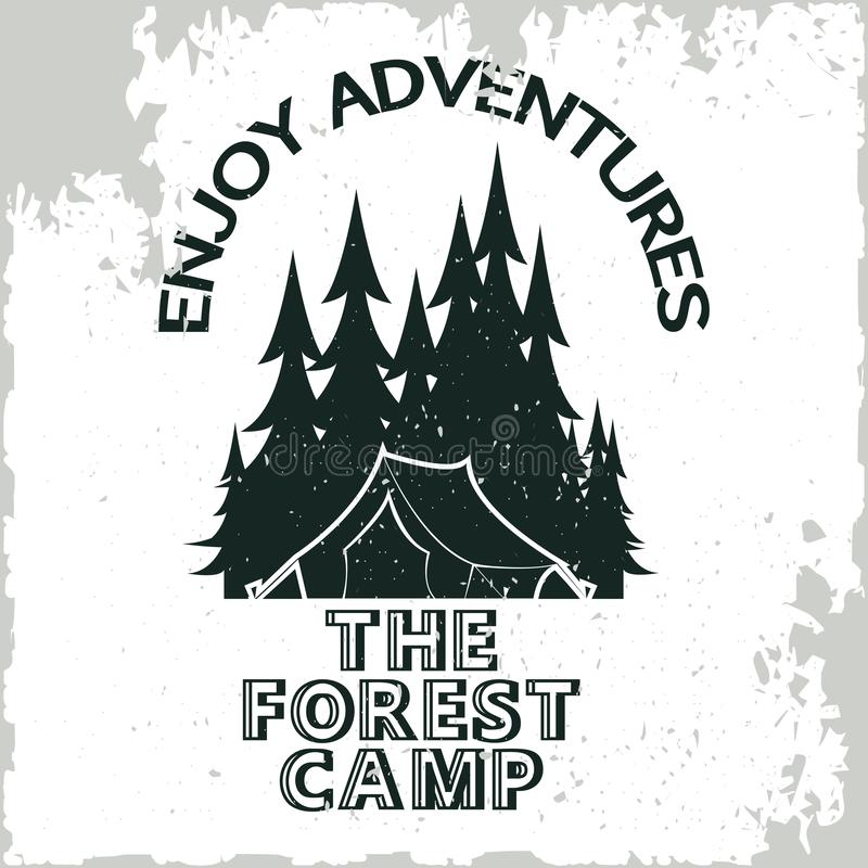 Rocznika camping lub turystyka logo ilustracja wektor