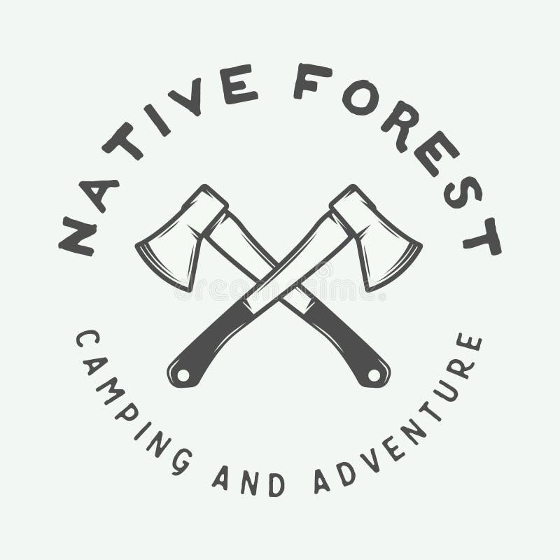 Rocznika camping plenerowy i przygoda logo, odznaka, etykietka, emblemat royalty ilustracja