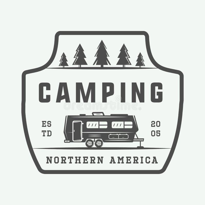 Rocznika camping plenerowy i przygoda logo, odznaka, etykietki ilustracja wektor