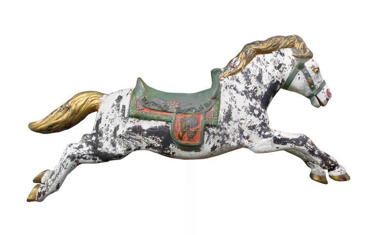 Rocznika carousel koń odizolowywający. royalty ilustracja