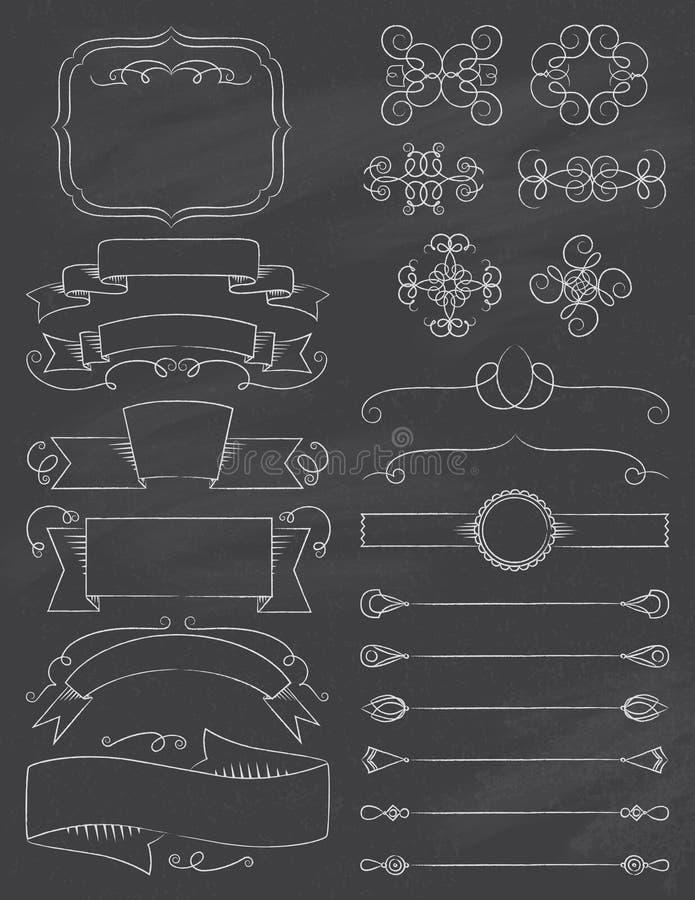 Rocznika ChalkBoard elementy Pięć ilustracja wektor