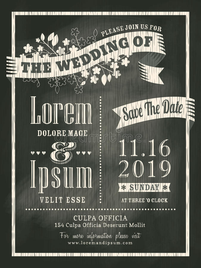 Rocznika chalkboard zaproszenia karty Ślubny tło