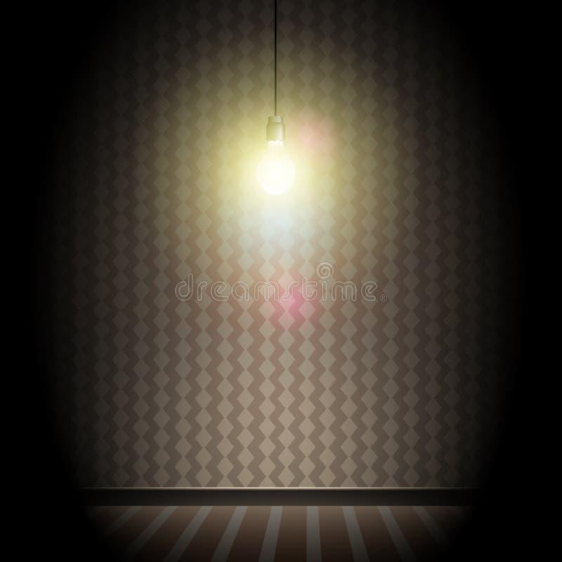 Rocznika Ciemny pokój z Jaskrawą Rozjarzoną żarówką royalty ilustracja