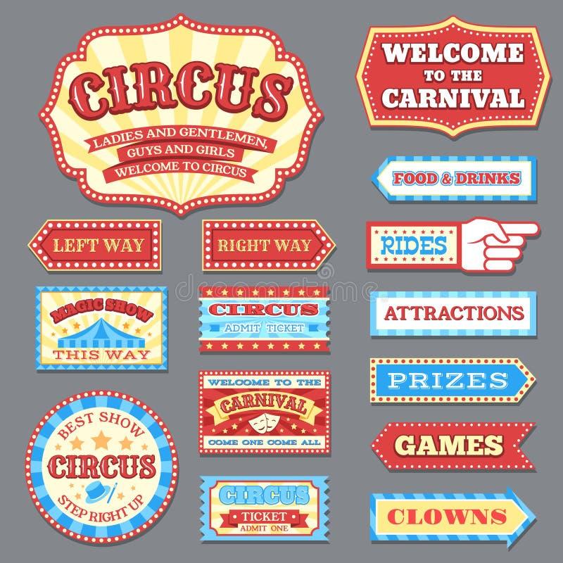 Rocznika cyrka etykietki i karnawałowa signboards wektoru kolekcja ilustracji