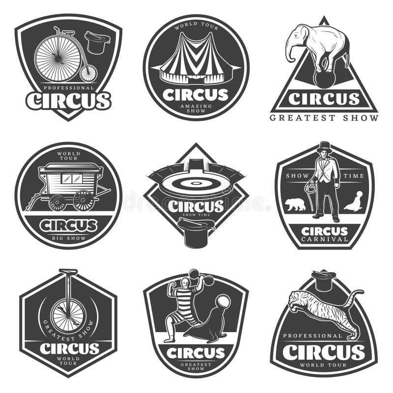Rocznika cyrka Monochromatyczne etykietki Ustawiać ilustracji
