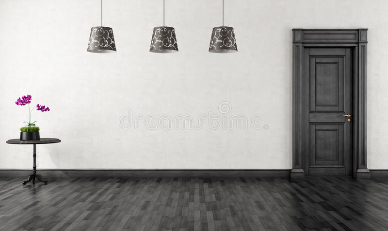 Rocznika czarny i biały pokój royalty ilustracja