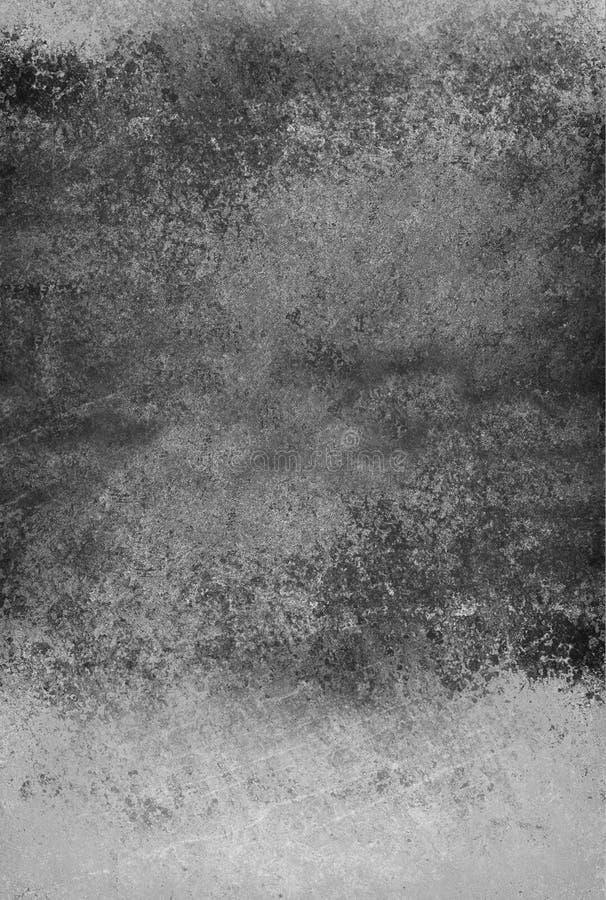 Rocznika czarny i biały tło z zakłopotanym grunge textured ścienną farbę i spattered plama projekt fotografia stock