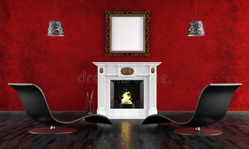 Rocznika czarny i czerwony pokój royalty ilustracja