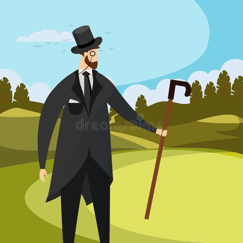 Rocznika d?entelmenu odzie?y Odg?rny kapelusz, Monocle i trzcina, ilustracja wektor