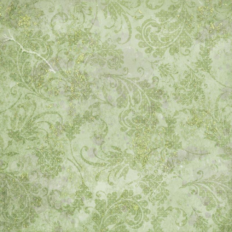 Rocznika Digital papieru tła tekstura - Podława szyk zieleń i lawenda Martwiący adamaszka wzór ilustracji