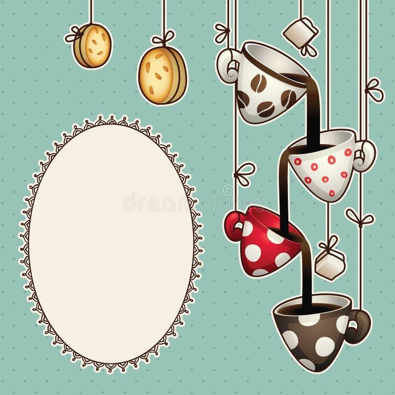 Rocznika doodle kawowe czekoladowe filiżanki, ciastka i cukier, również zwrócić corel ilustracji wektora royalty ilustracja