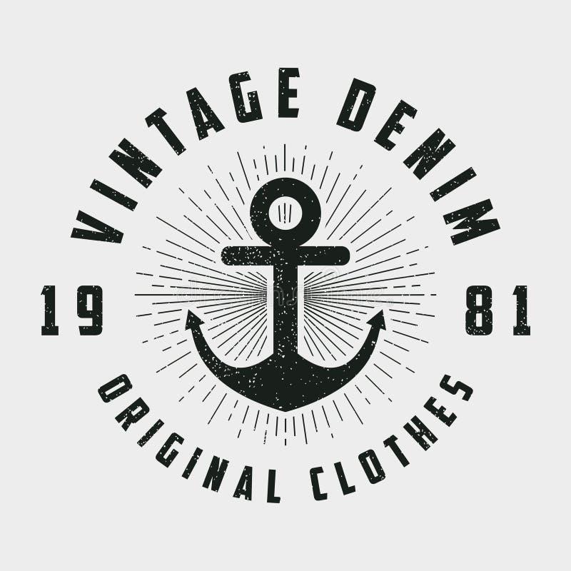 Rocznika drelichowy druk dla koszulki, oryginałów ubrań projekt z kotwicą i linii sunburst Retro modniś, projektujemy loga dla od ilustracja wektor