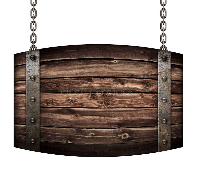 Rocznika drewna baryłki signboard dla restauracyjnego obwieszenia na łańcuchach odizolowywał 3d ilustrację obrazy stock