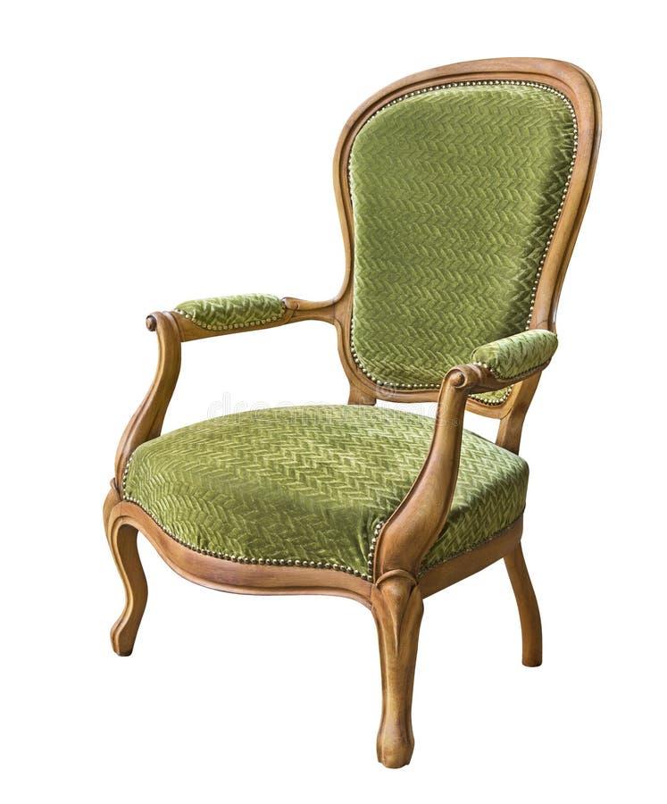 Rocznika drewniany karło tapicerujący w zielonym aksamicie odizolowywającym na białym tle obraz royalty free