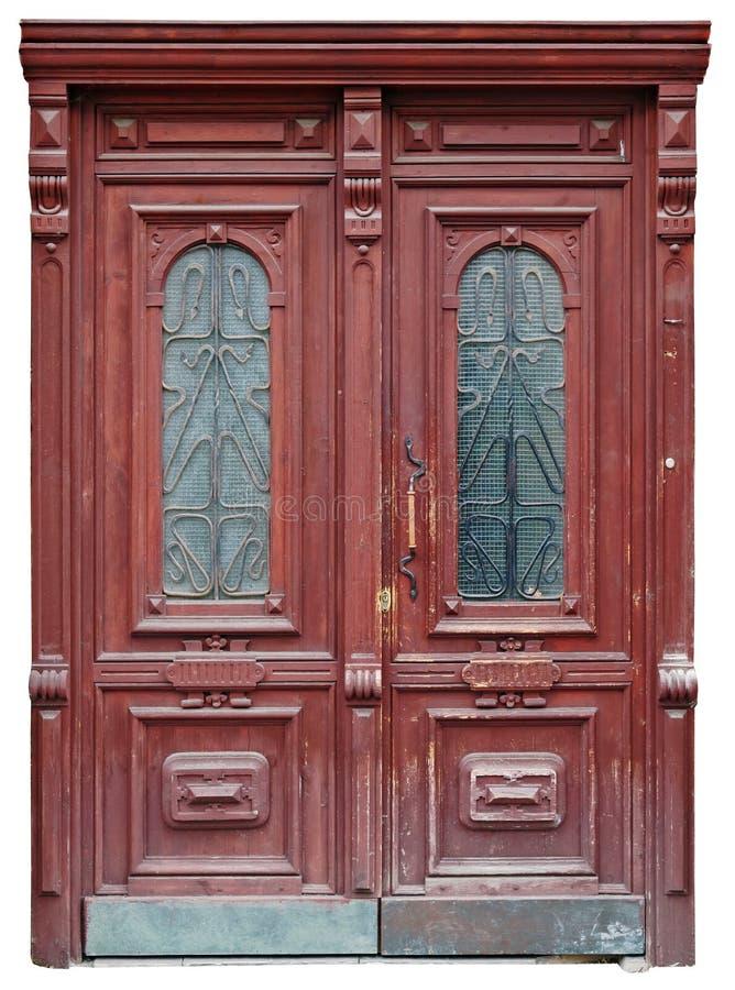 Rocznika drzwi mahoń zrobił niewiadomym mistrzem obrazy royalty free
