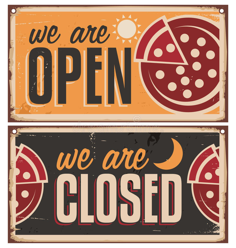Rocznika drzwi znaki ustawiają dla pizzeria lub restauraci royalty ilustracja