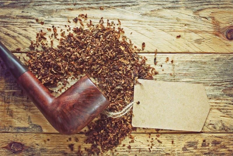 Rocznika dymienia drymba, tytoń i papier etykietka, obrazy stock