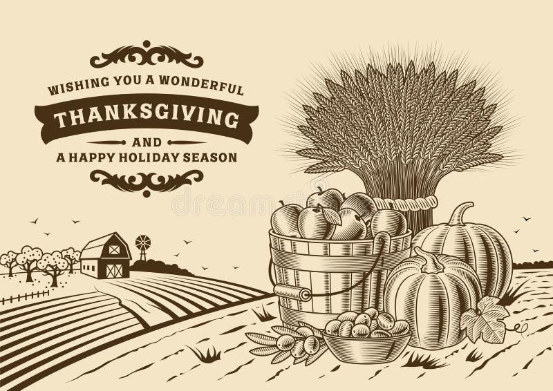 Rocznika dziękczynienia krajobraz Brown ilustracji