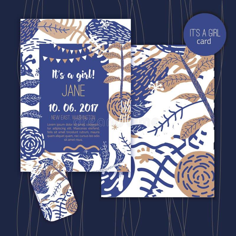 Rocznika dziecka prysznic dla dziewczyny zaproszenia wektoru szablonów Prysznic pastelu karty z kwiatami w błękita i złota kolora ilustracja wektor