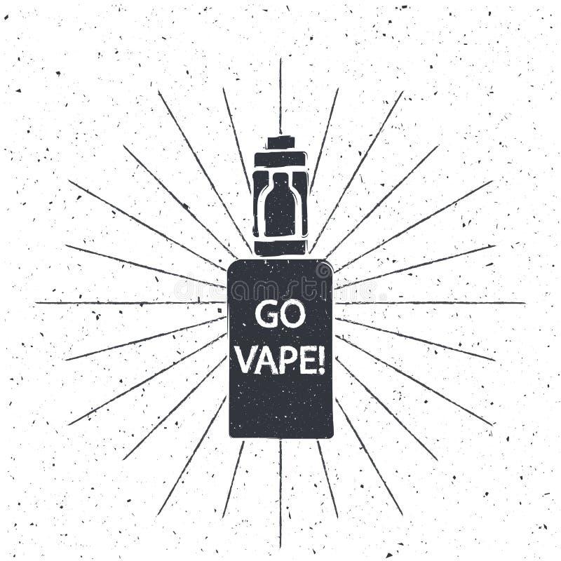Rocznika emblemat elektroniczny papieros ilustracji