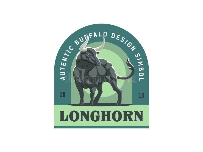 Rocznika emblemat z silną mięśniową byk ilustracją royalty ilustracja
