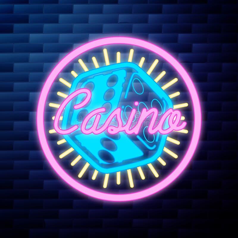Rocznika emblemata kasynowy jarzyć się neonowy royalty ilustracja