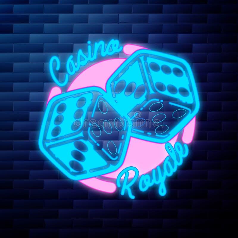 Rocznika emblemata kasynowy jarzyć się neonowy ilustracji