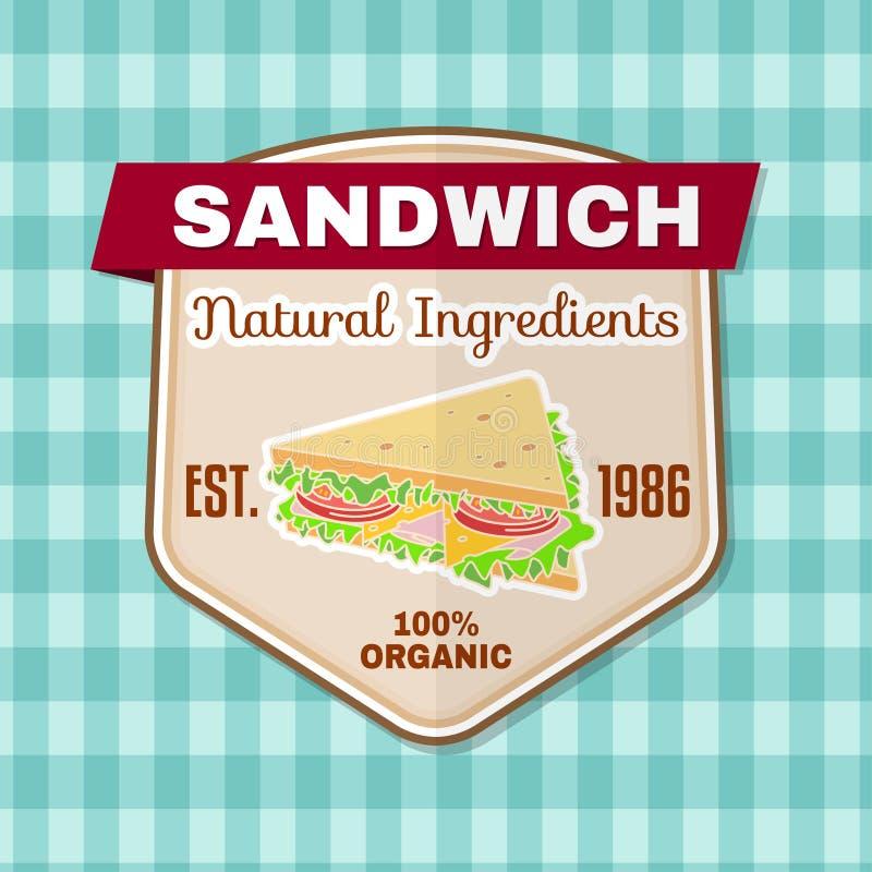 Rocznika fasta food odznaka, sztandar lub loga emblemat, ilustracja wektor