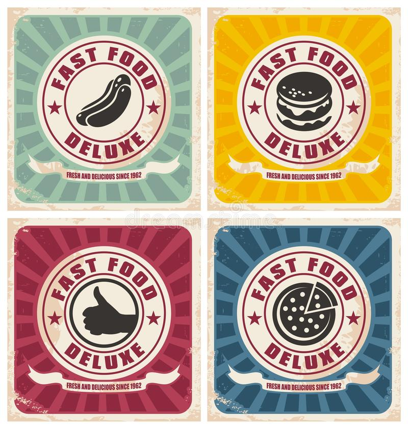 Rocznika fasta food plakaty inkasowi ilustracji