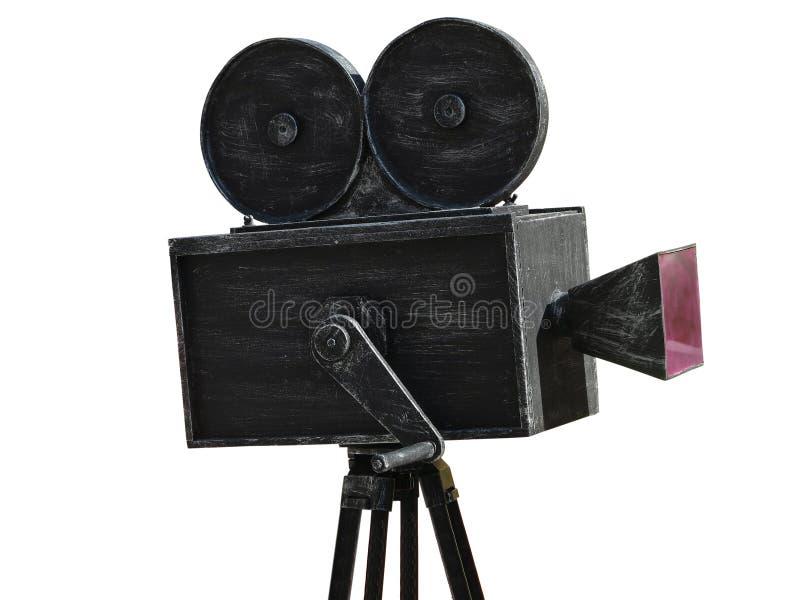 Rocznika filmu kamery czerni model odizolowywający na bielu obraz stock