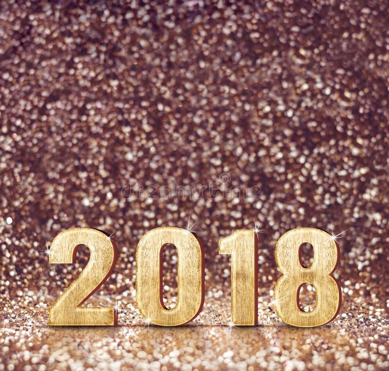 Rocznika filtra brzmienie szczęśliwy nowego roku 2018 3d rendering przy zdrojem ilustracji