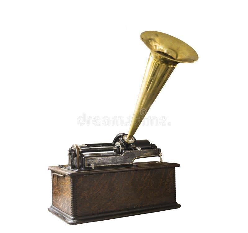 Rocznika fonograf odizolowywający na białym tle obraz royalty free