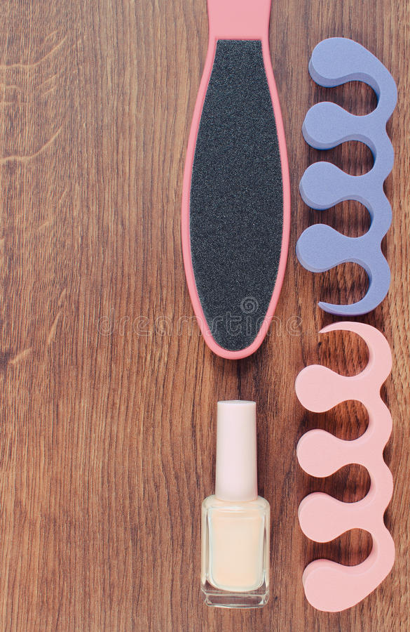 Rocznika fotografia, kosmetyki, akcesoria dla, pojęcie stopa, ręka i gwóźdź, manicure'u lub pedicure, dbamy, kopiujemy, przestrze obrazy stock