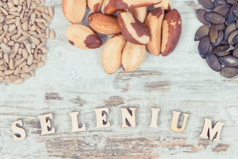Rocznika fotografia, składniki lub produkty jako, źródło selen, witaminy, kopaliny i żywienioniowy włókno, zdjęcia royalty free