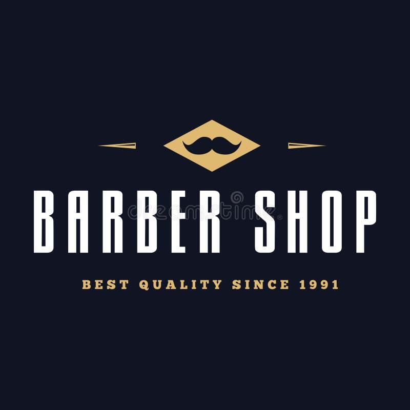 Rocznika fryzjera męskiego sklepu logo, etykietki, odznaki i projekta element, royalty ilustracja