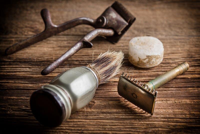 Rocznika fryzjera męskiego sklepu narzędzia obraz stock