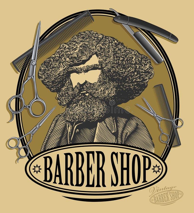 Rocznika fryzjera męskiego sklepu znaka deska ilustracja wektor