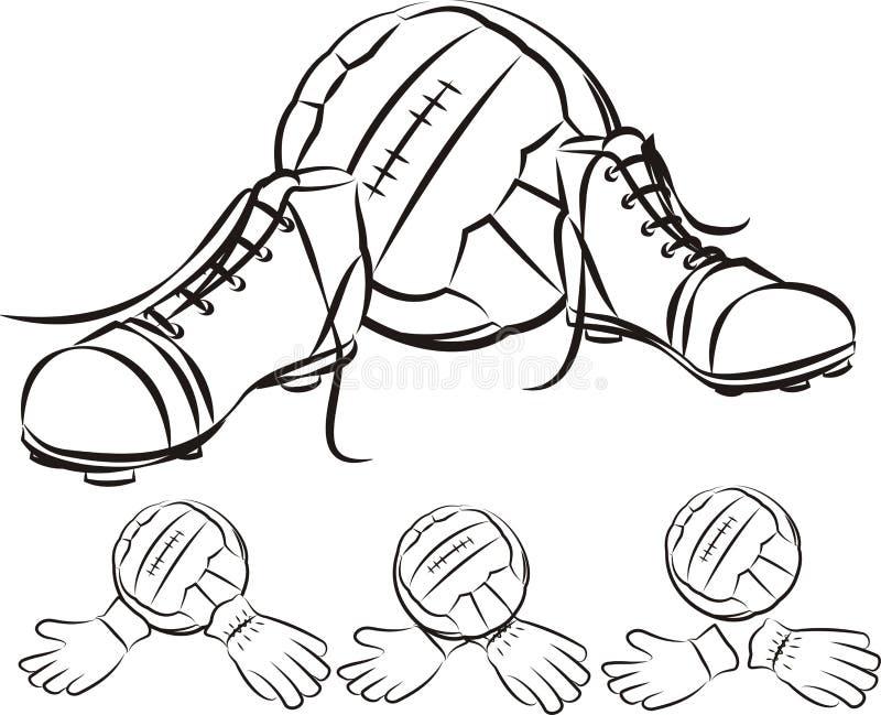Rocznika futbolu lub piłki nożnej wyposażenie ilustracja wektor