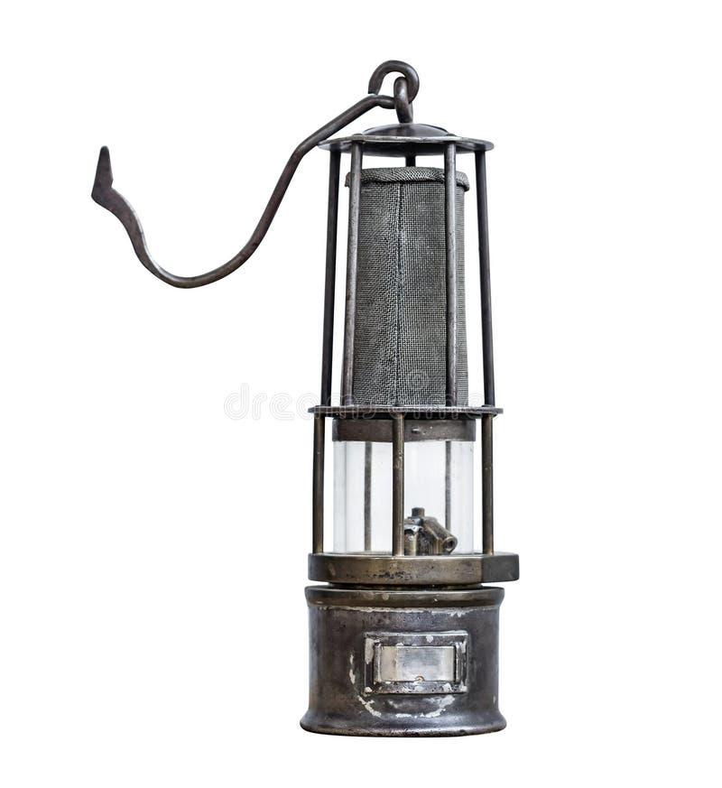 Rocznika górnika lampa odizolowywająca na białym tle zdjęcia royalty free