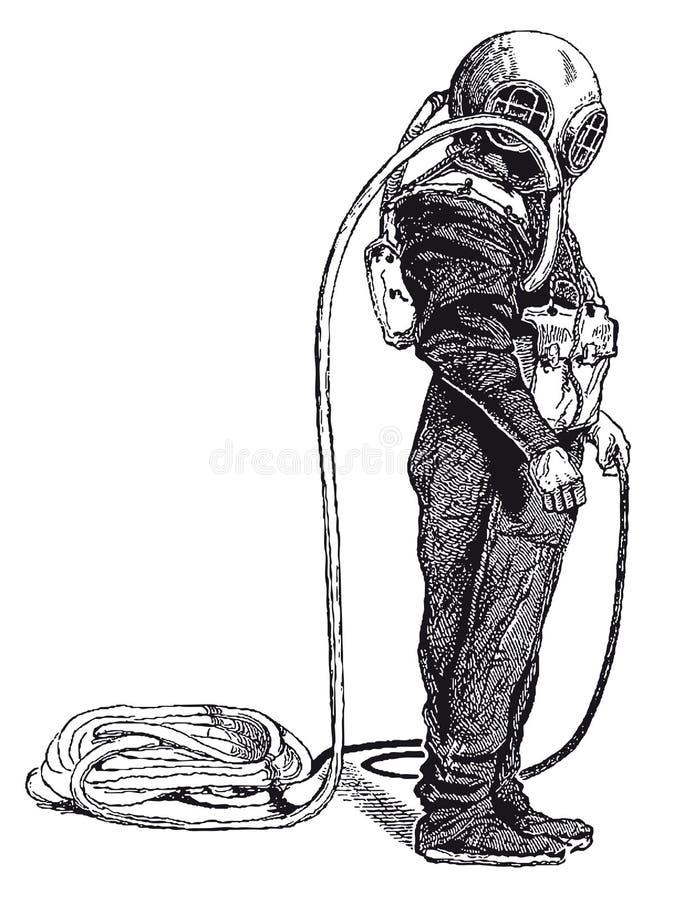 Rocznika Głębokiego morza nurka rytownictwo royalty ilustracja